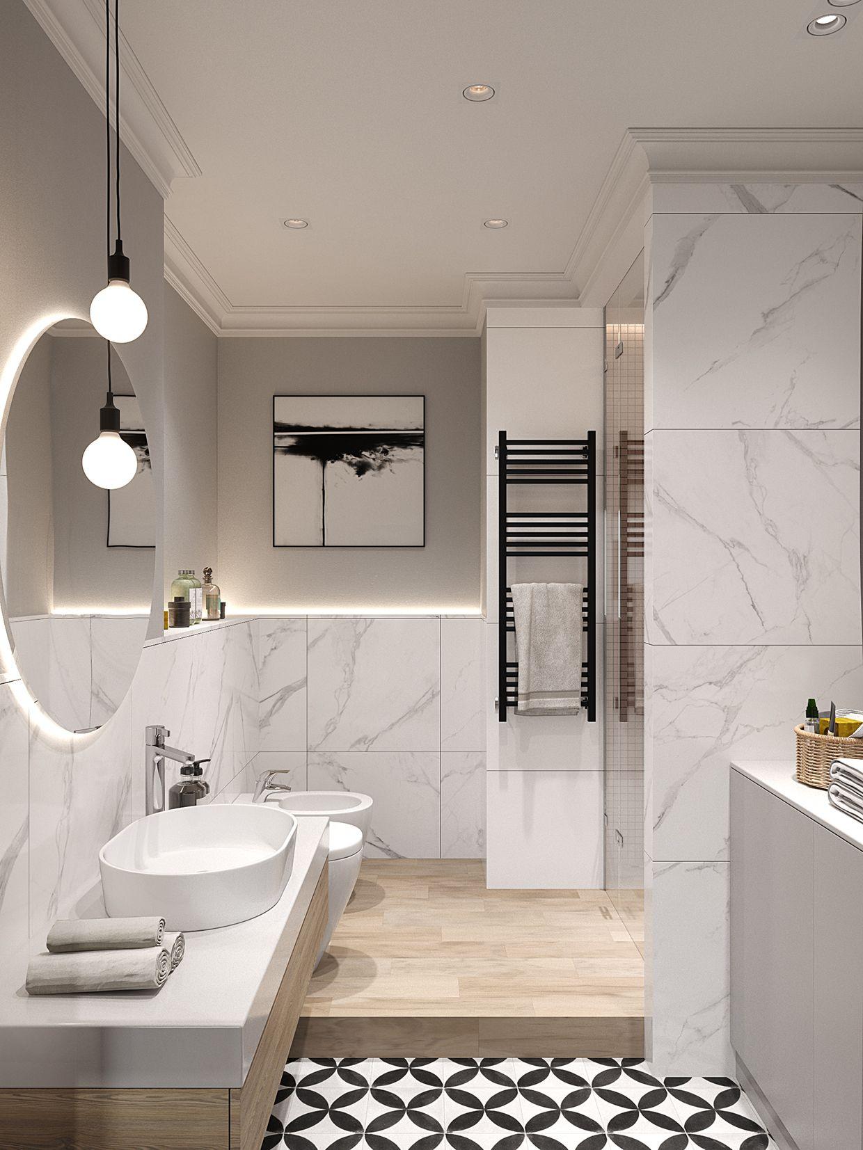 Arredo Bagno Moderno In Marmo.Bagno Con Effetto Marmo Home Style Banos Modernos Bano Marmol E