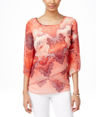 JM Collection Printed Crisscross Top, Only at Macy's