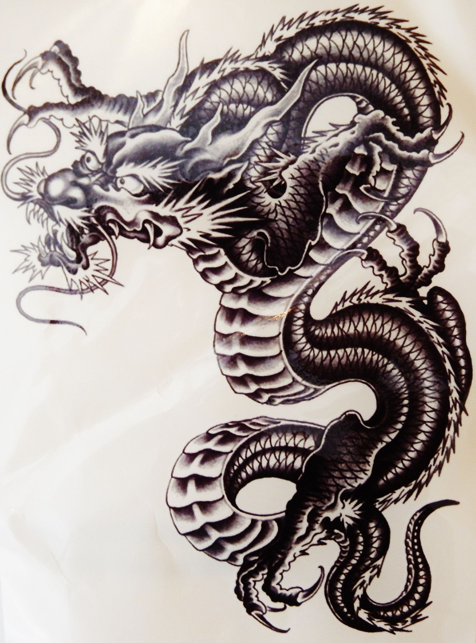 9bef1bdc987e3 Large Awesome Black Dragon Temporary Tattoo | Tips | Dragon tattoo ...