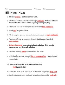 Bill Nye Heat Video Questions 03 Teaching Resources For Middle