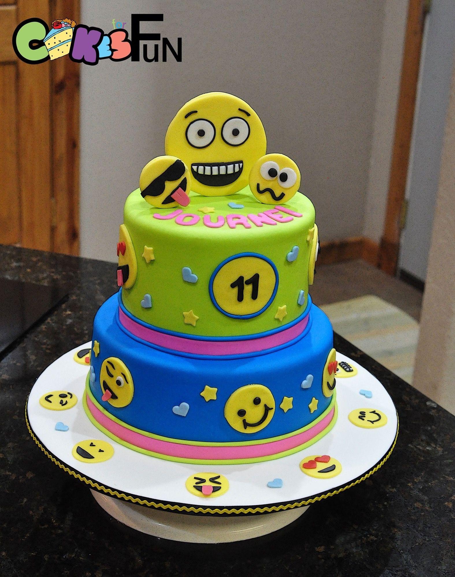 Cool Emoticon Cake Emojis On 2 Tiered Cake Www Facebook Com Personalised Birthday Cards Vishlily Jamesorg