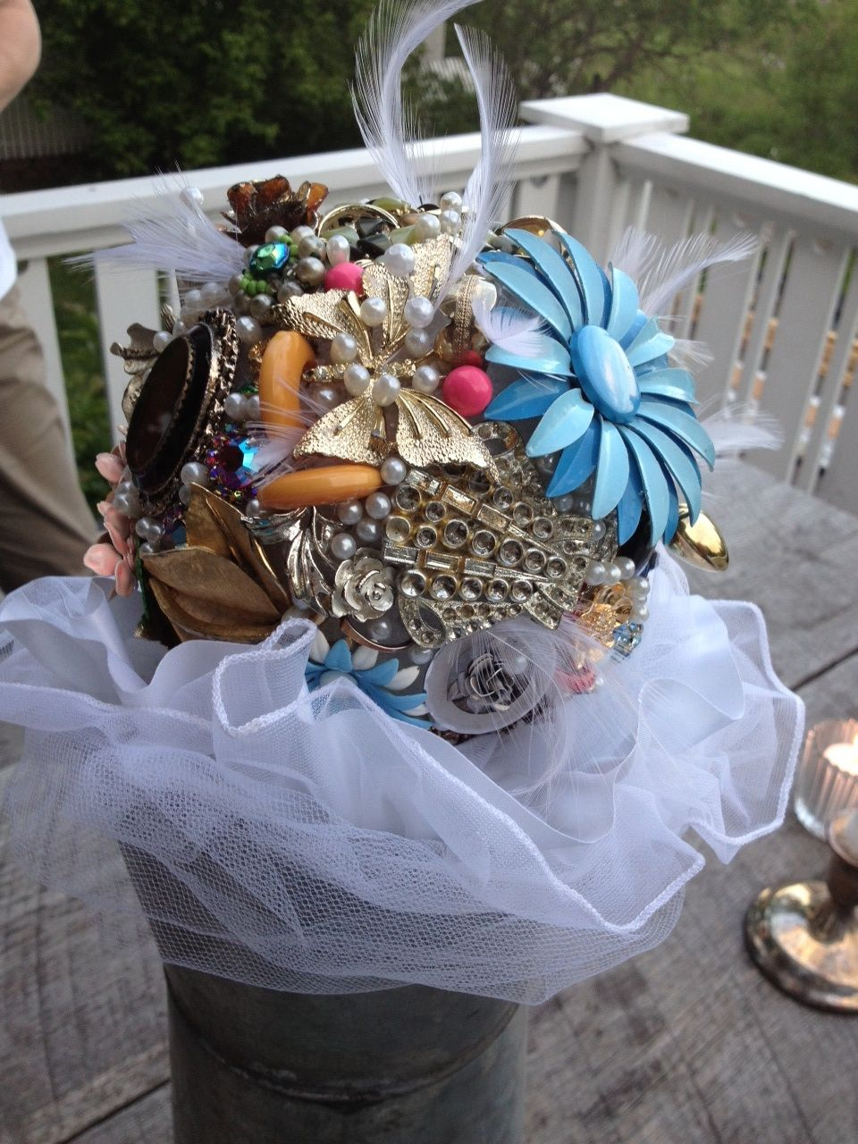 Wedding anniversary bouquet made of old heirlooms. | Table ...