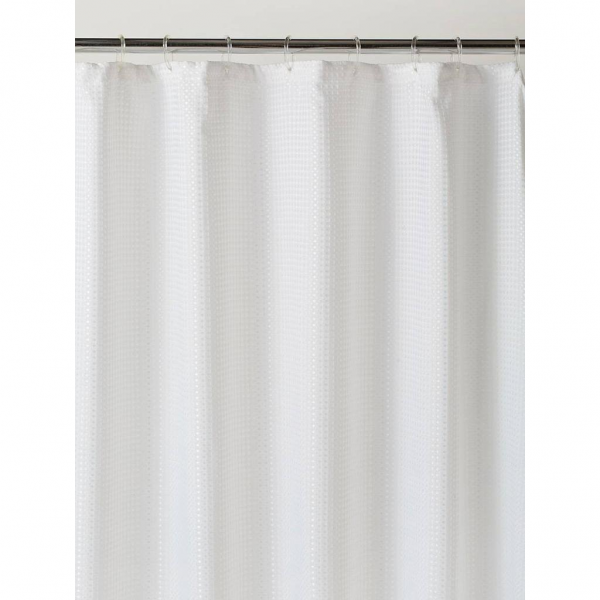 Linen House Waffle White Shower Curtain Polyester A Water