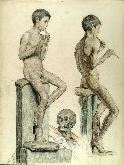 """The riddle of the piper """"Two studies of a seated nude boy playing the  flute"""" by Arnaldo Casella Tamburini Jr."""