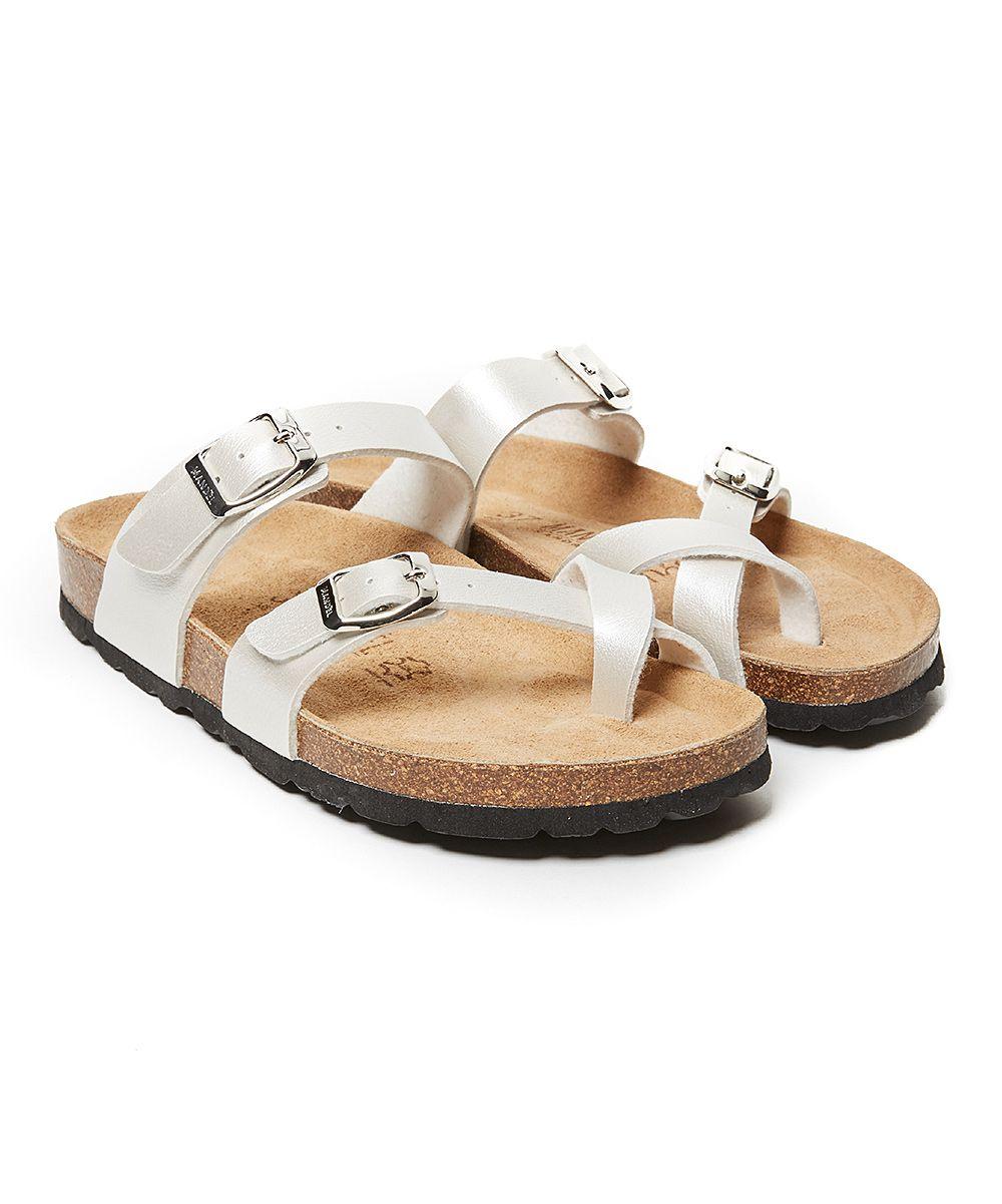 ba60198a38f7d Mandel White Crisscross Daria Recycled Leather Sandal - Women