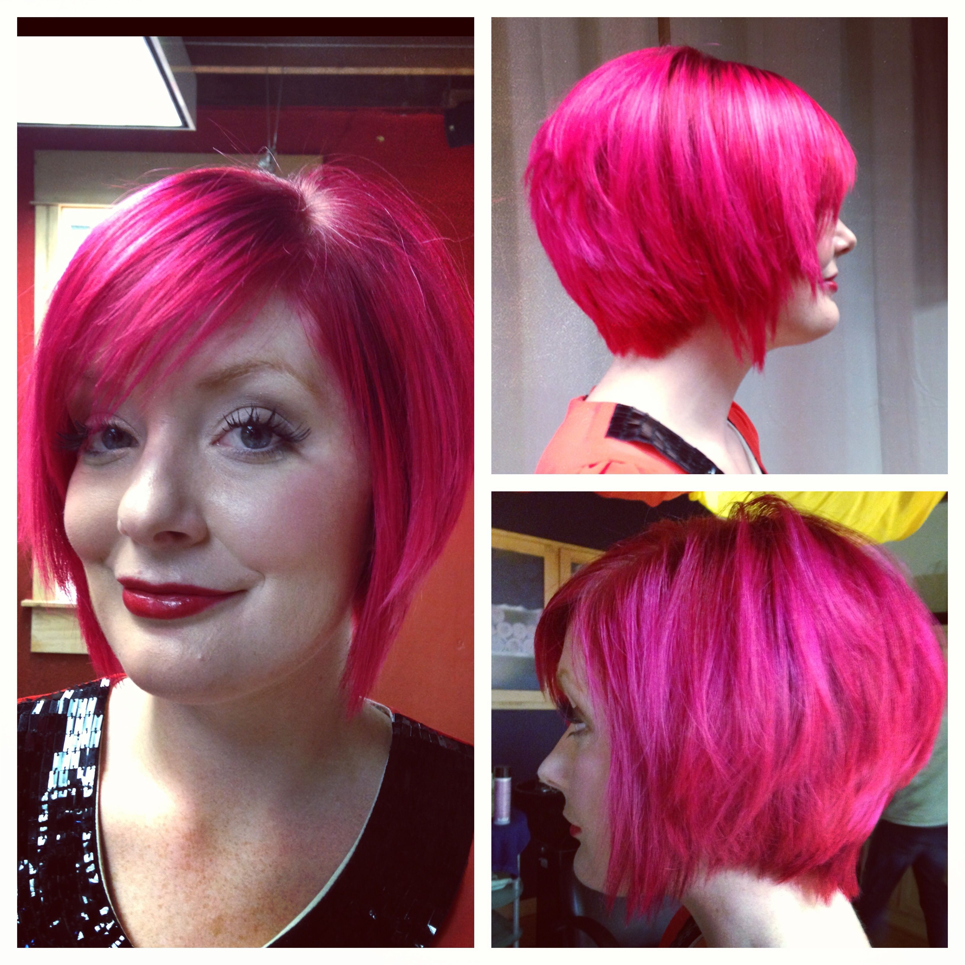 Pink hair i did this yesterday short pink hair semi permanent
