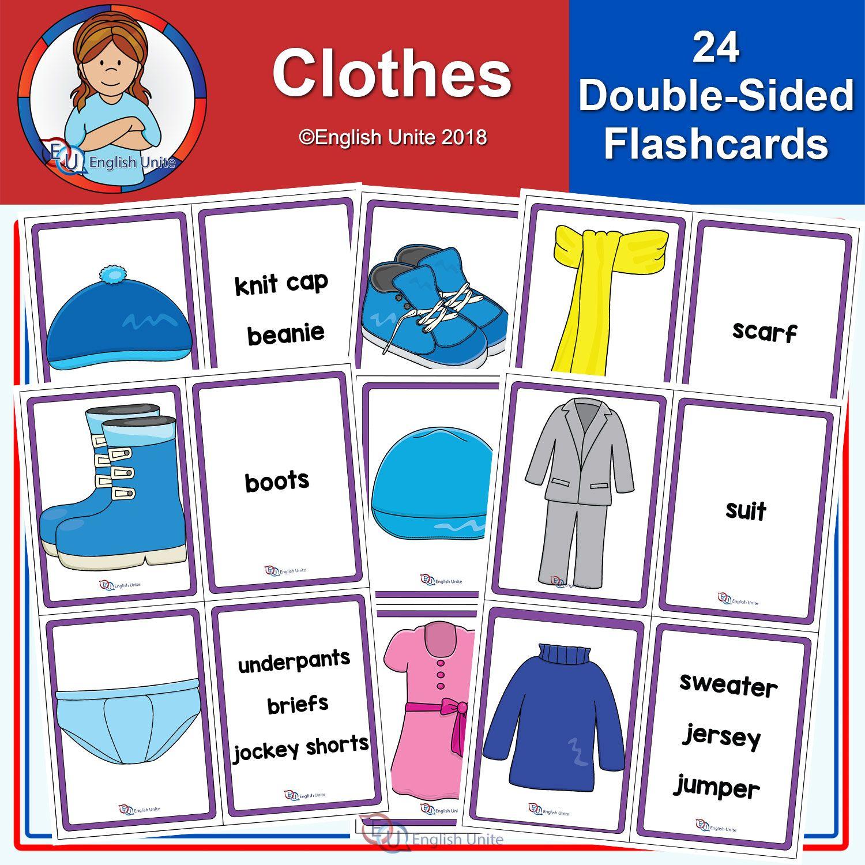 Flashcards Clothes English Unite Flashcards Vocabulary Flash Cards Vocabulary Activities