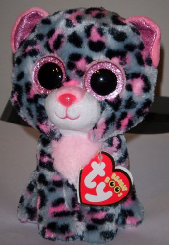 299879c8ad5 Ty-Beanie-Boos-Boos-TASHA-the-6-Pink-Grey-Leopard-2015-NEW-Release-IN-HAND
