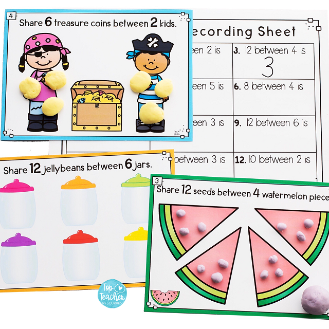 12 Sharing Division Playdough Mats And Recording Sheetuse The Playdough Mats Alone Or With The Recording Shee Playdough Playdough Mats Free Activities For Kids