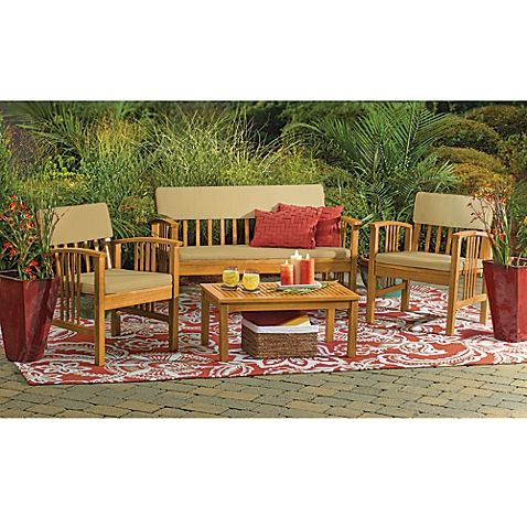 4 Piece Westerly Acacia Wood Deep Seating Chat Set Patio Furniture Conversation Sets Wood Patio Furniture Deep Seating Patio Furniture