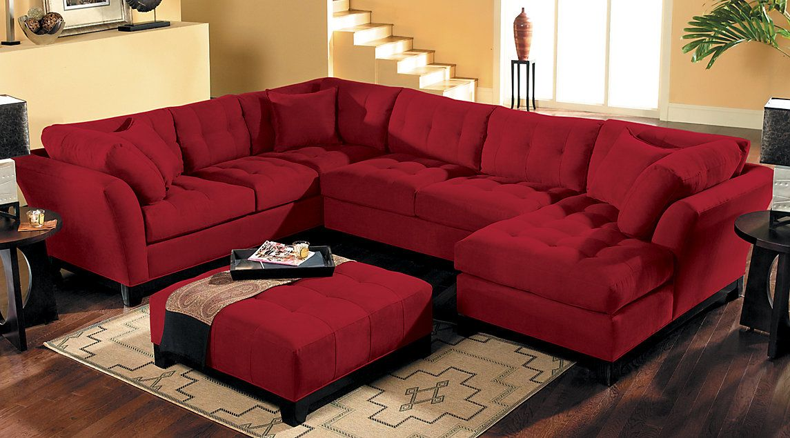 Affordable Red Sectional Living Rooms Sofa Sets Fabric