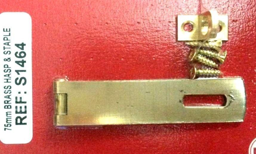 Hasp And Staple Door Latch Solid Brass 75Mm ( 7.5Cm ) Complete With Screws - & Hasp And Staple Door Latch Solid Brass 75Mm ( 7.5Cm ) Complete With ...