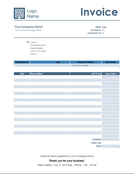 Service Invoice Simple Blue Design Estimate Template Invoice Template Invoicing