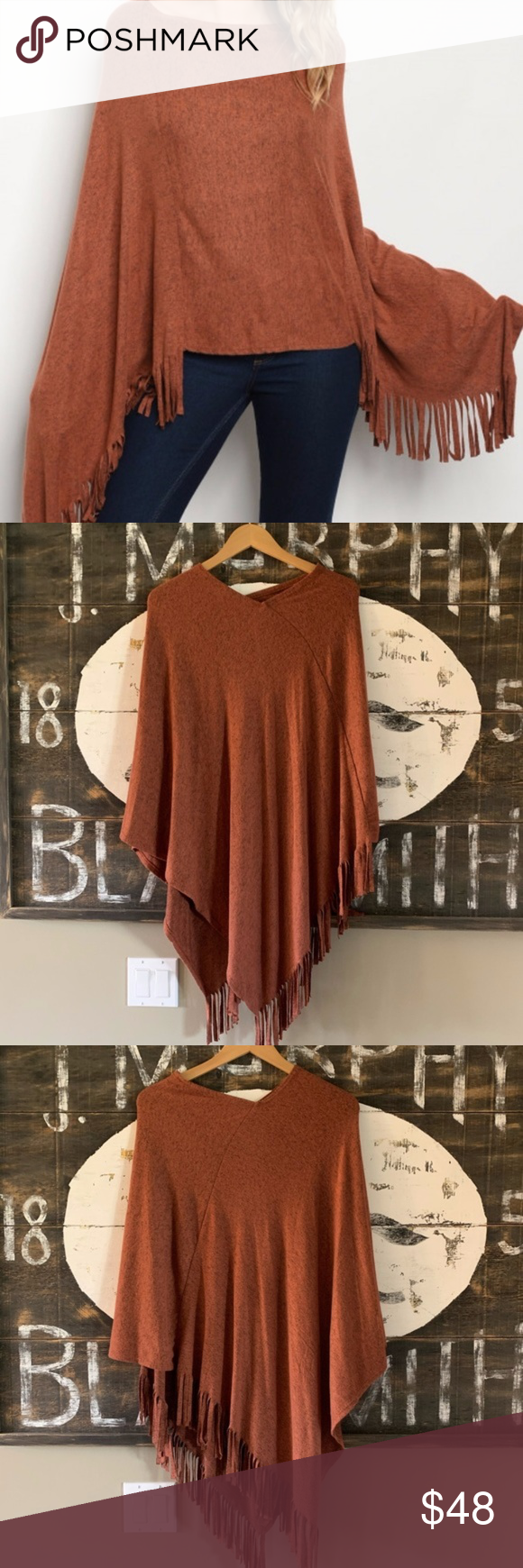 Fringe Poncho Sweater Super Soft and Cute! Fringe Sleeve Bohemian Poncho  Made in the USA!  Private Label  Fabric: Rayon Blend Brand new boutique item, but no tags! Sweaters #myposhpicks