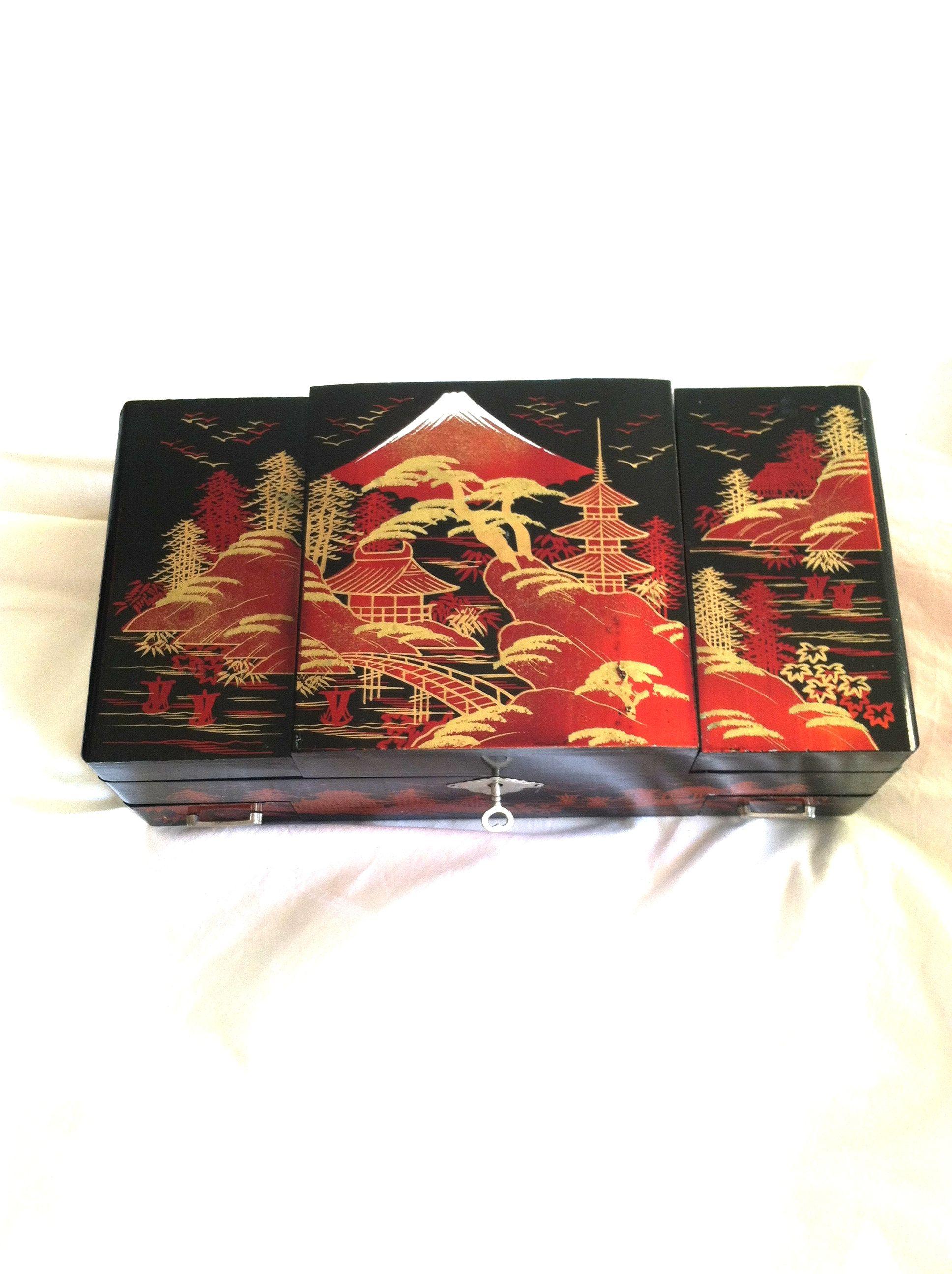 Antique Hand Painted Japanese Music Ballerina Jewelry Box