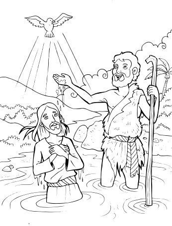 The Baptism of Jesus - Coloring Page - SundaySchoolist
