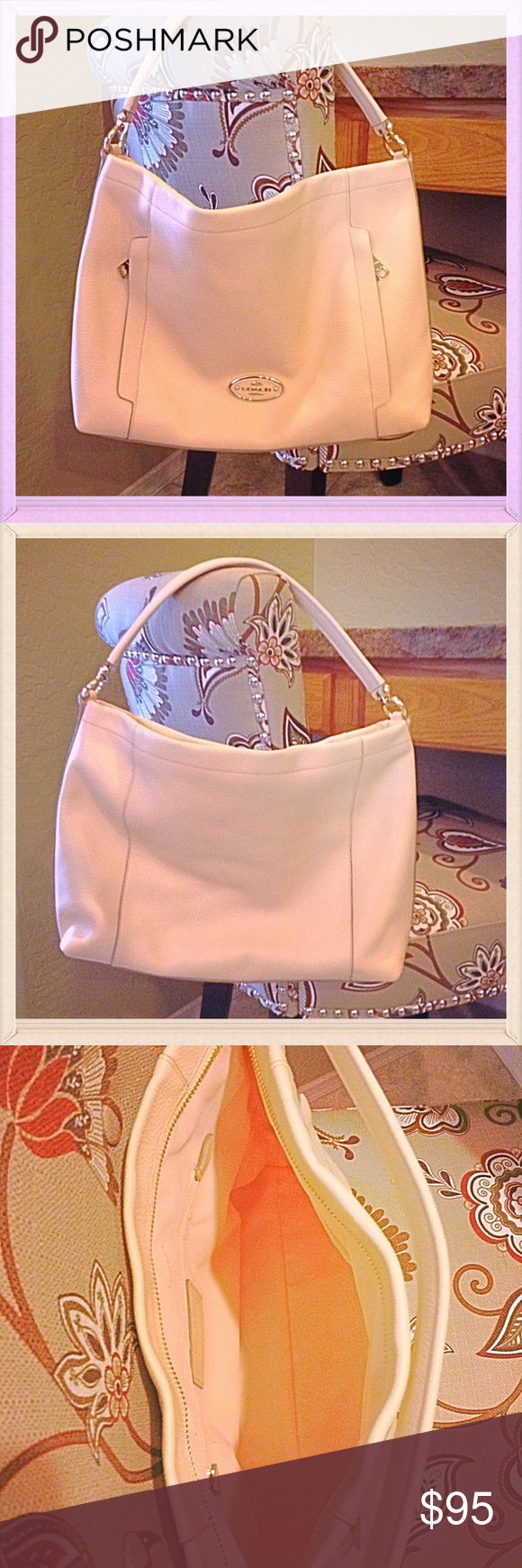 """Coach Pebble Leather Purse NWOT Beautiful peachy/pink pebble leather with gold/rose tone hardware. Never used, very classy. Measures 15"""" tall, 10"""" wide, 3"""" bottom width. Coach Bags Shoulder Bags"""
