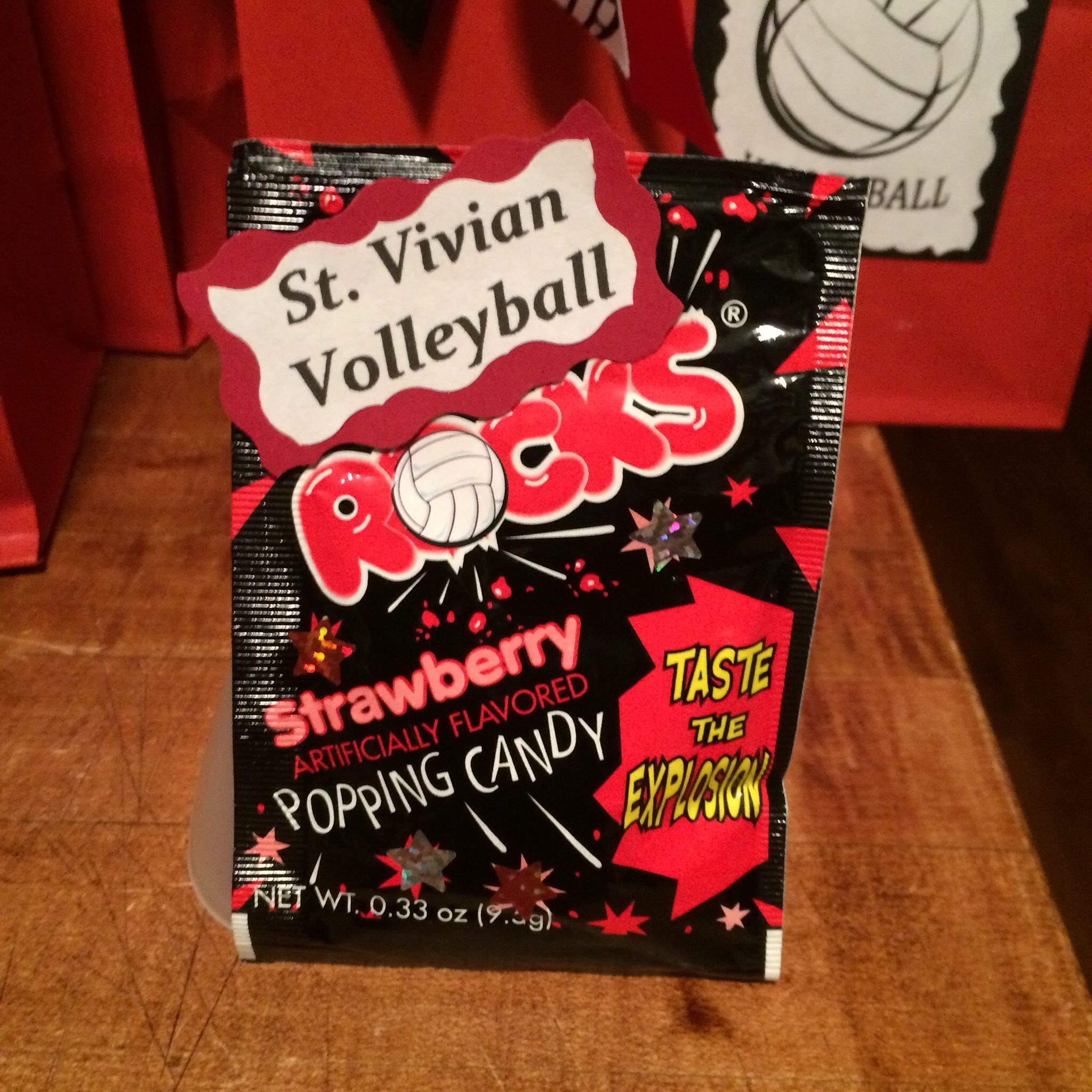 Volleyball Candy Pop Rocks Made For My Daughters Volleyball Team Added To The Goodie Volleyball Team Gifts Volleyball Locker Decorations Volleyball Crafts