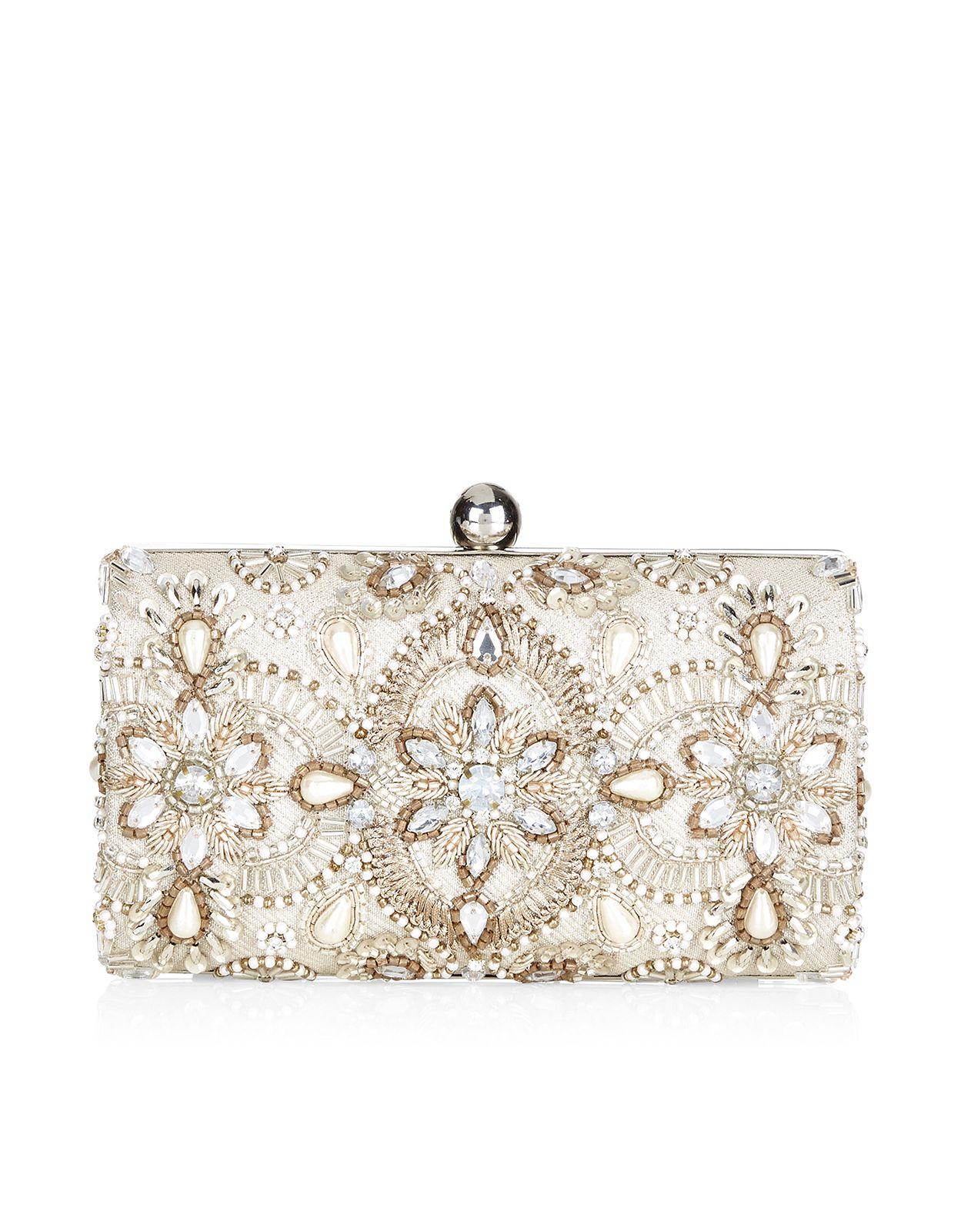 Georgina Embellished Hardcase Clutch Bag Ivory