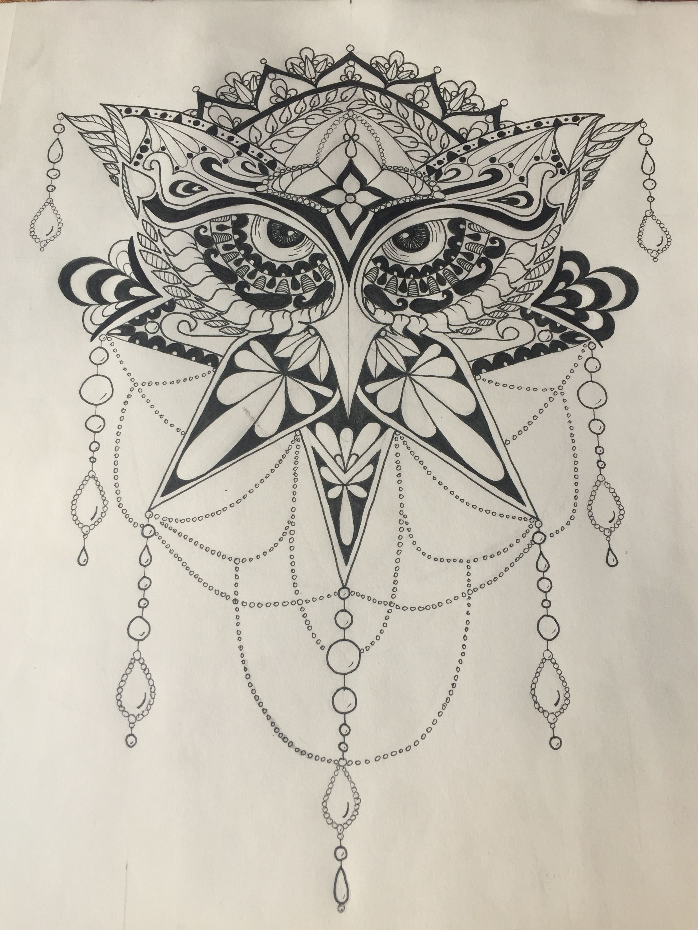 Buho Tatuaje Mandala owl, pen art, black and white, mandala style, tattoo or ink
