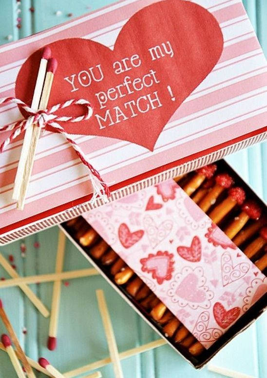 Valentine Edible Box of Matches | Messages and Pretzels