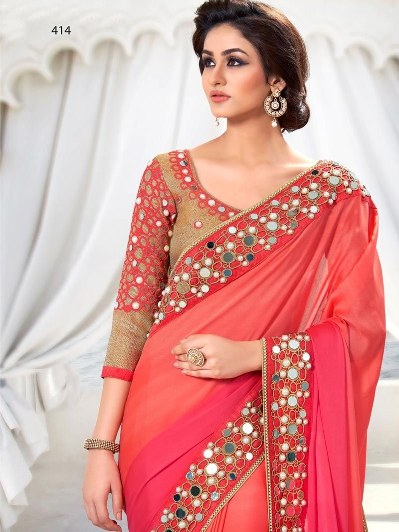1312093377b5e6 Pink with Peach Color Indian Party Wear Sarees Online. Pink with Peach Color  Indian Party Wear Sarees Online Mirror Work Saree, Mirror Work Blouse