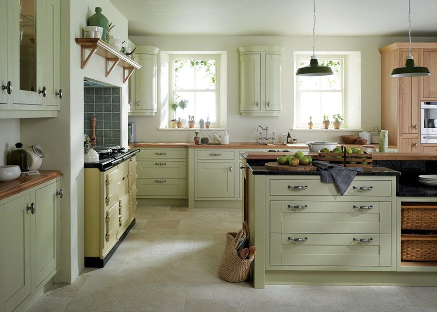Light Green Kitchen Walls Hand Painted Hardwood Shaker
