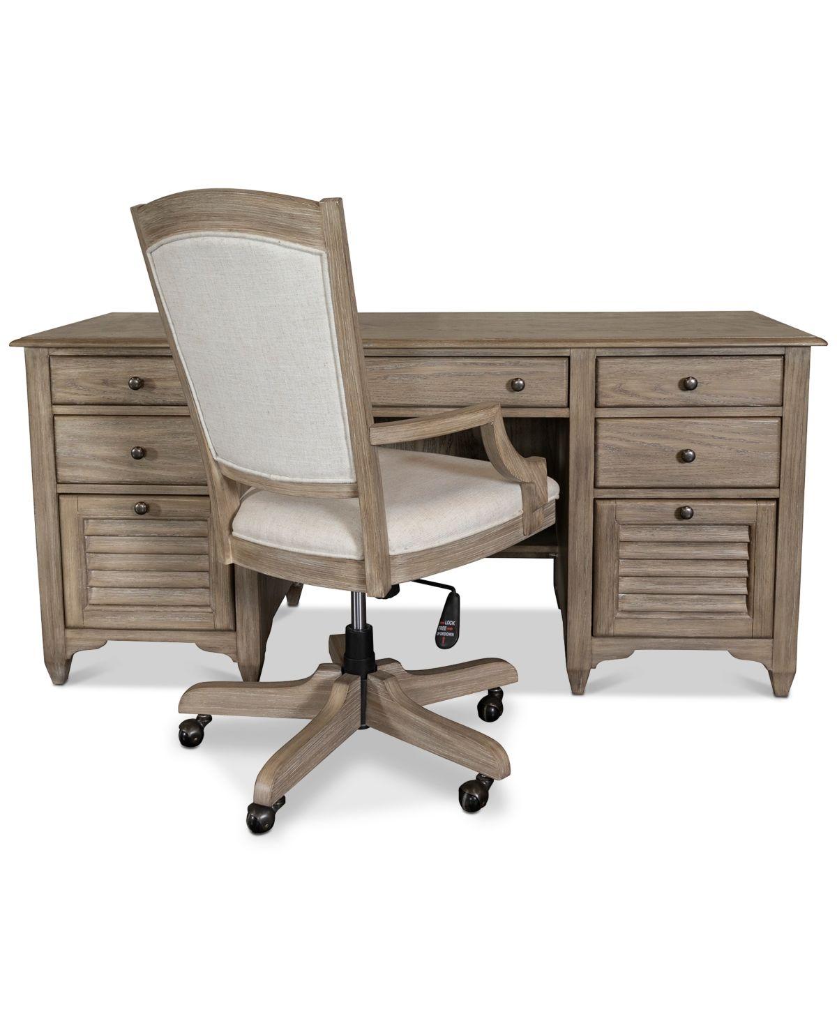 York Home Office 2 Pc Furniture Set Credenza Desk Upholstered