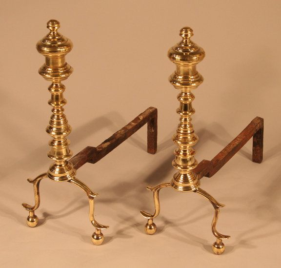 A Pair Of Brass Andirons American Circa 1830 Nice Small Pair Of