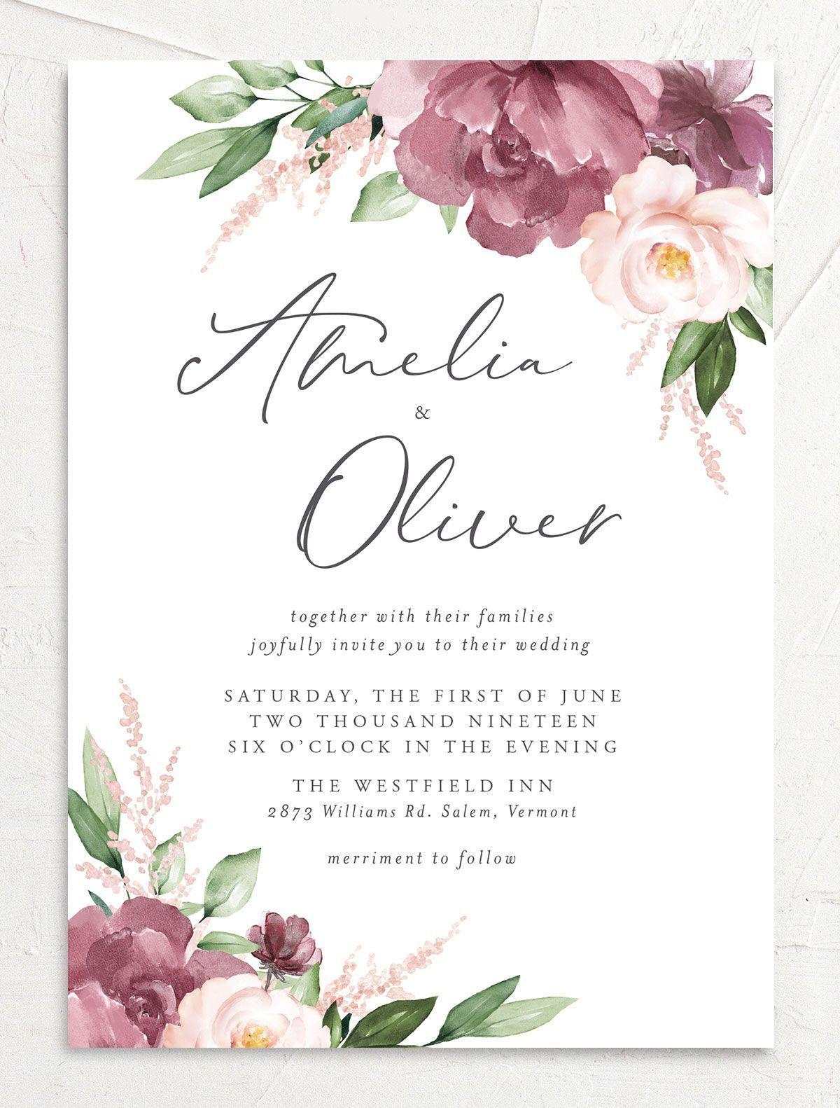 Beloved Floral Blush And Mauve Wedding Invitations Mauve Wedding Invitations Floral Wedding Invitations Fall Wedding Invitations