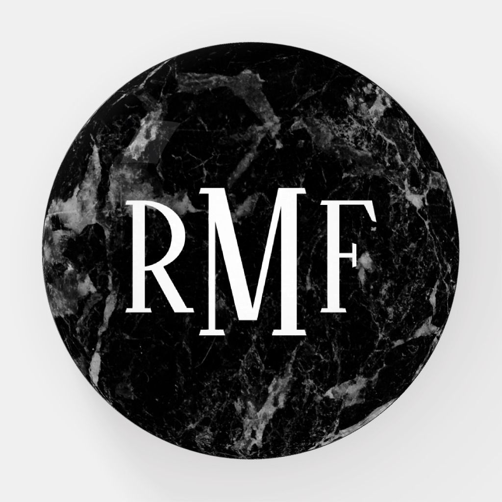 Black Marble Print With 3 Letter Monogram Modern Paperweight Monogram Letters Marble Print Black Marble
