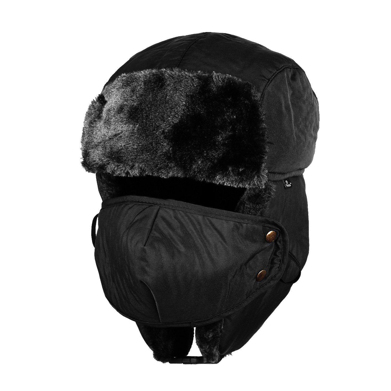 Amazon.com   Tirain Unisex Winter Trooper Ushanka Hat Ear Flap Hat with  mask (Black eff78abc6cf