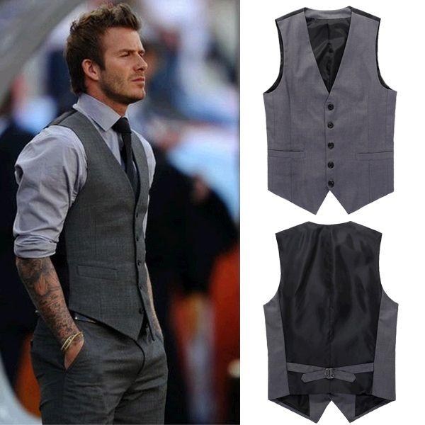 Acheter Authentic magasiner pour le meilleur liquidation à chaud Beckham Vest Men's Formal Suit Tank Top Suit V-necked Slim ...