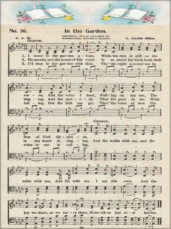 In The Garden Note Cards Or Hymn Print Hymn Art By Gospelhymns Gospel Hymns For Daily Strength
