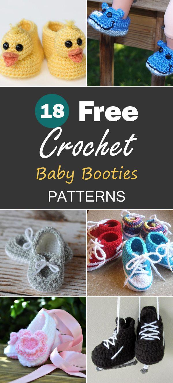 18 Free Crochet Baby Booties Patterns | Baby-schuhe häkeln, Schuhe ...