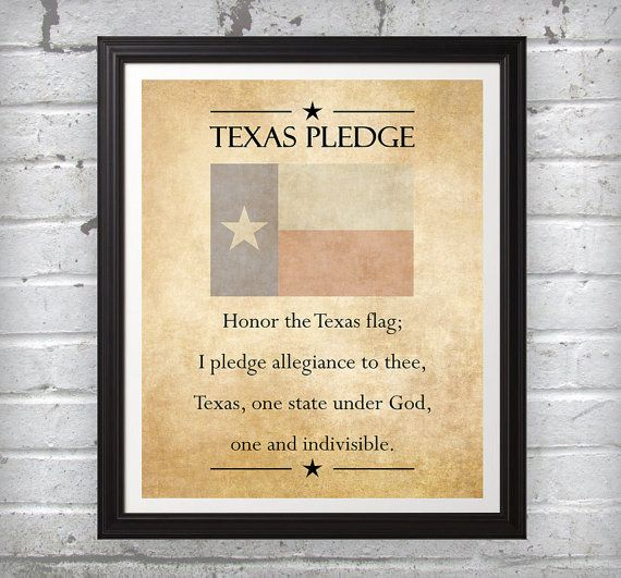 Texas Pledge red white blue beige rustic wall art decor photo print ...