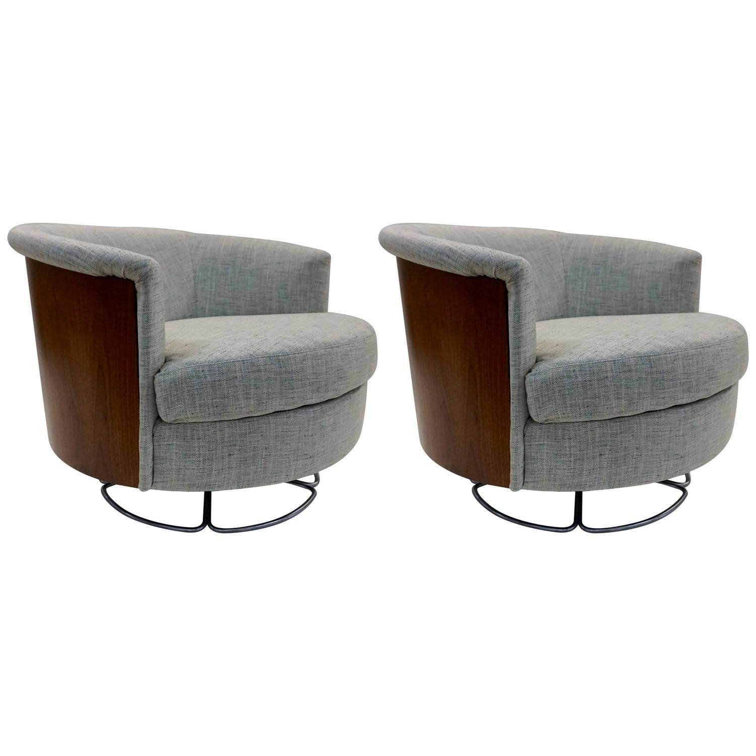 1960 Pair Of Selig Barrel Back Swivel Chairs