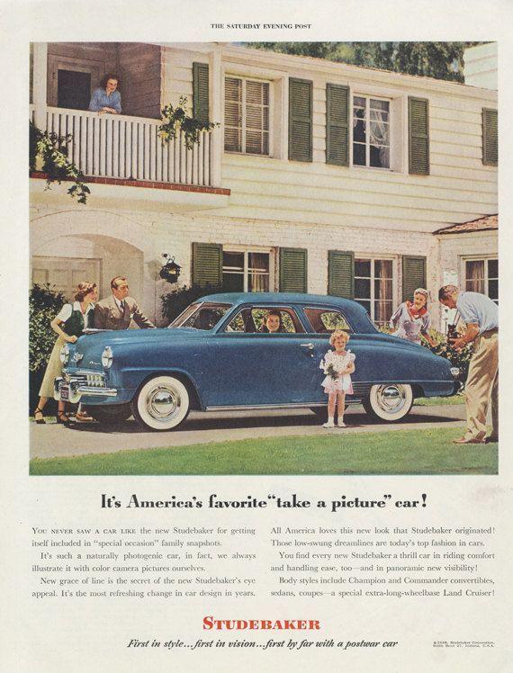 1948 Studebaker Classic Car Ad Blue Automobile by AdVintageCom –