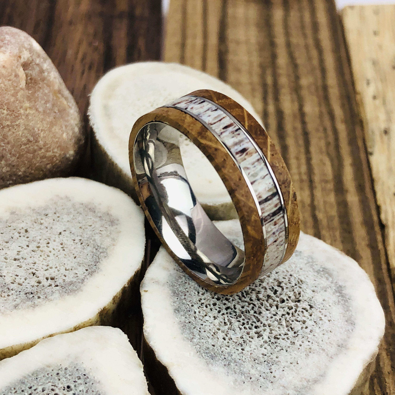 Deer Antler Ring, Mens Wedding Band, Whiskey Barrel Ring