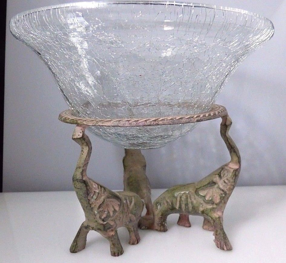 Vintage Le Gl Bowl Vase Metal Pink Gray 3 Elephant Pedestal Stand India Madeinindia