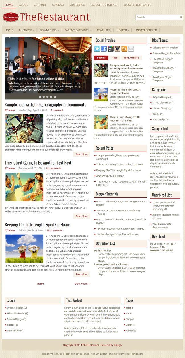 TheRestaurant Blogger Template | Blogger Templates 2018 ...