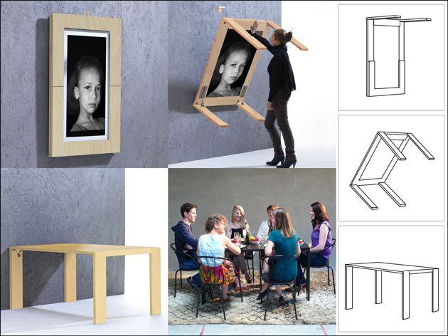 Idea para una mesa plegable. IDEAS PARA ORGANIZAR TU CUARTO DE COSTURA AHORRANDO ESPACIO