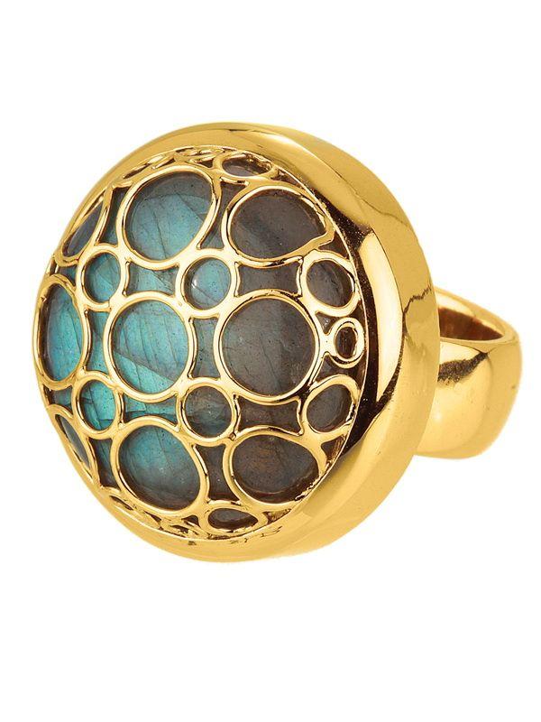 14k yellow gold labradorite ring....