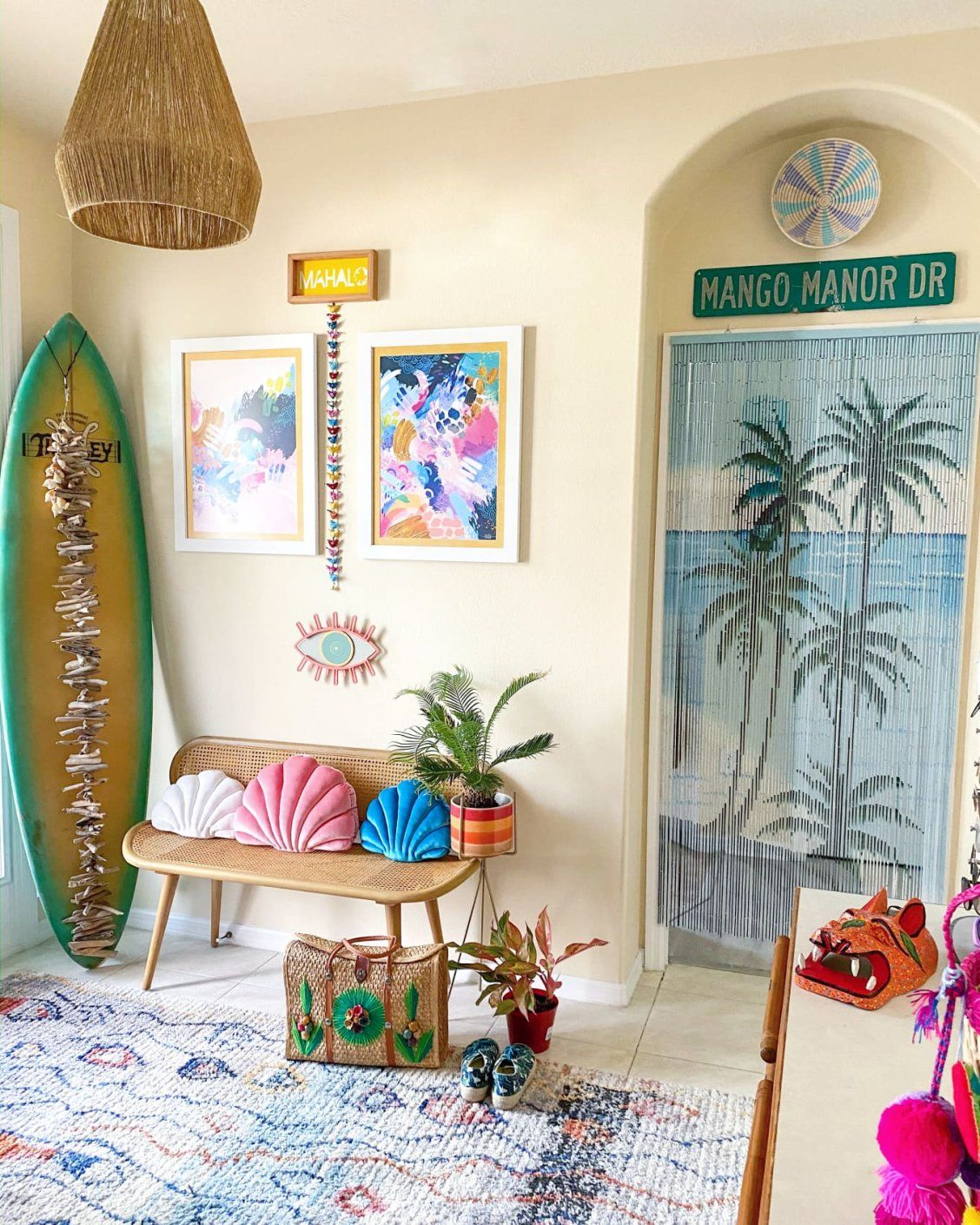 This Cheery Florida Home S Tropical Bohemian Surf Shack Bungalow Style Will Make You Smile In 2020 Surf Room Decor Tropical Bedroom Decor Tropical Decor Living Room