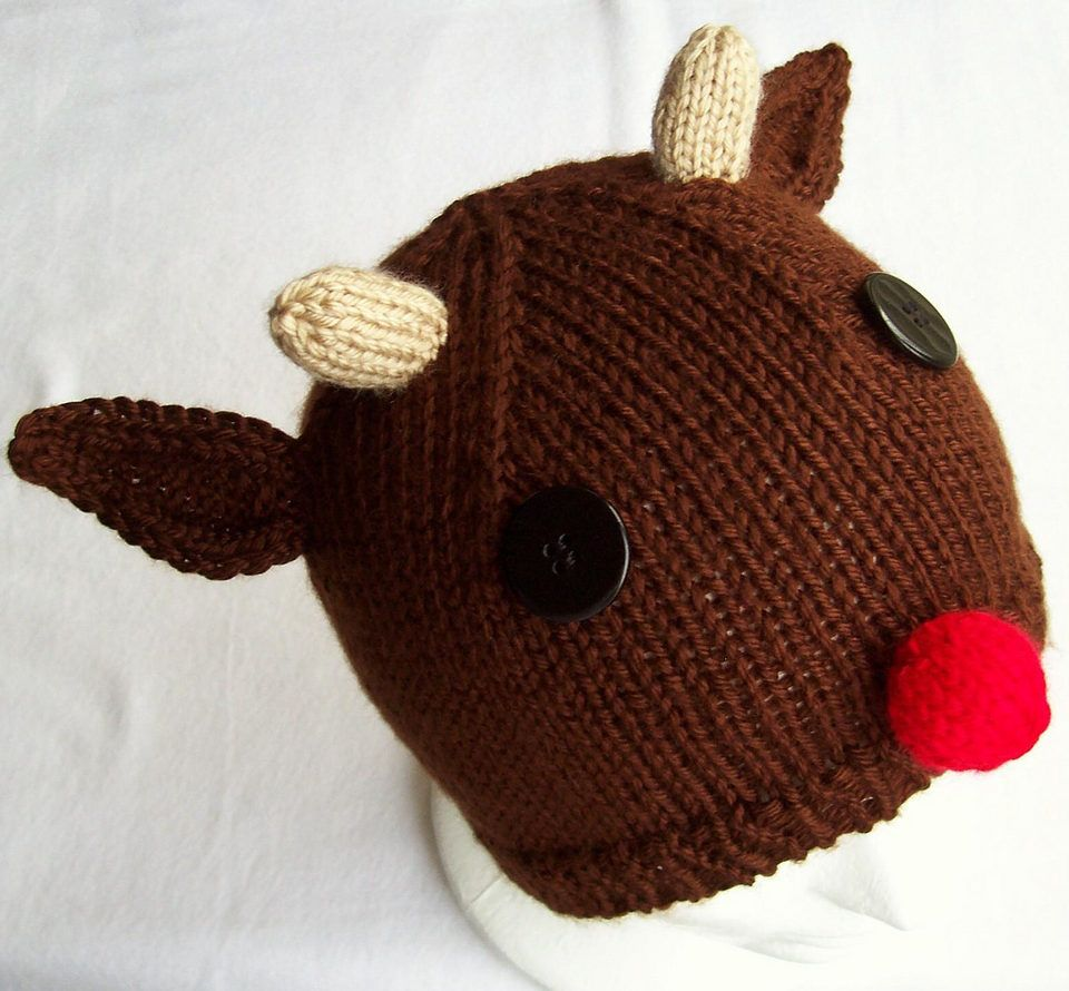 Free knitting pattern for rudolph the red nosed reindeer hat free knitting pattern for rudolph the red nosed reindeer hat carissa brownings easy christmas bankloansurffo Images
