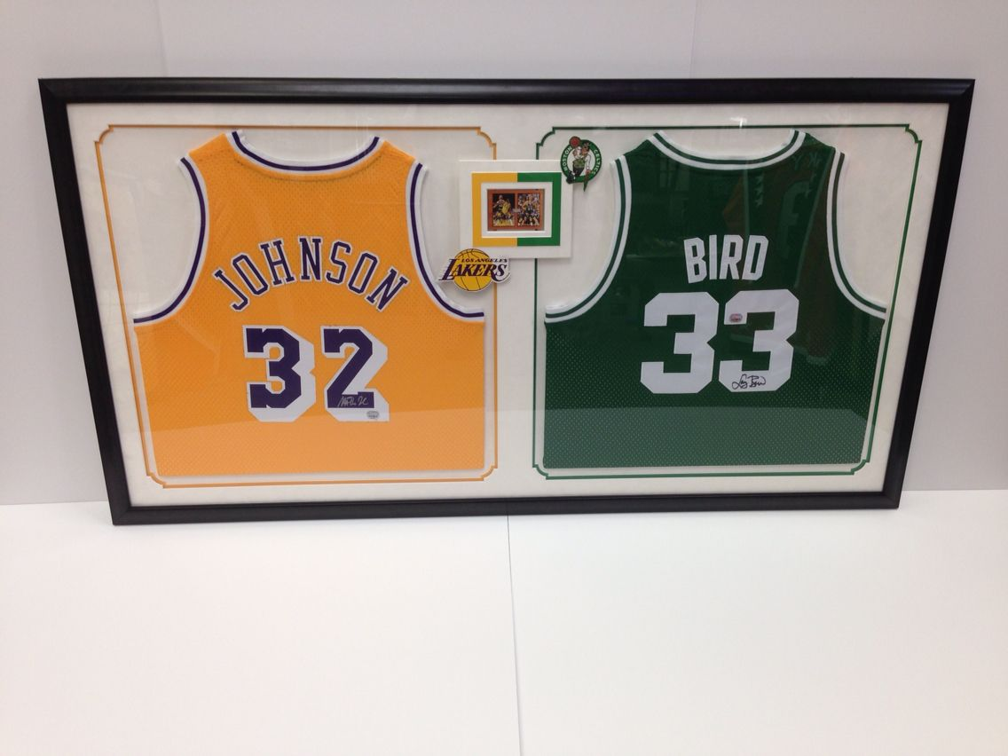 0a103005c This jersey frame job speaks for itself ! Two Greats of the game!   basketball  jersey  customframing