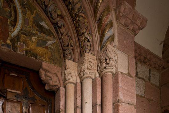 Detail of west portal, Église Sainte Foy, Sélestat (Bas-Rhin)  Photo by Dennis Aubrey