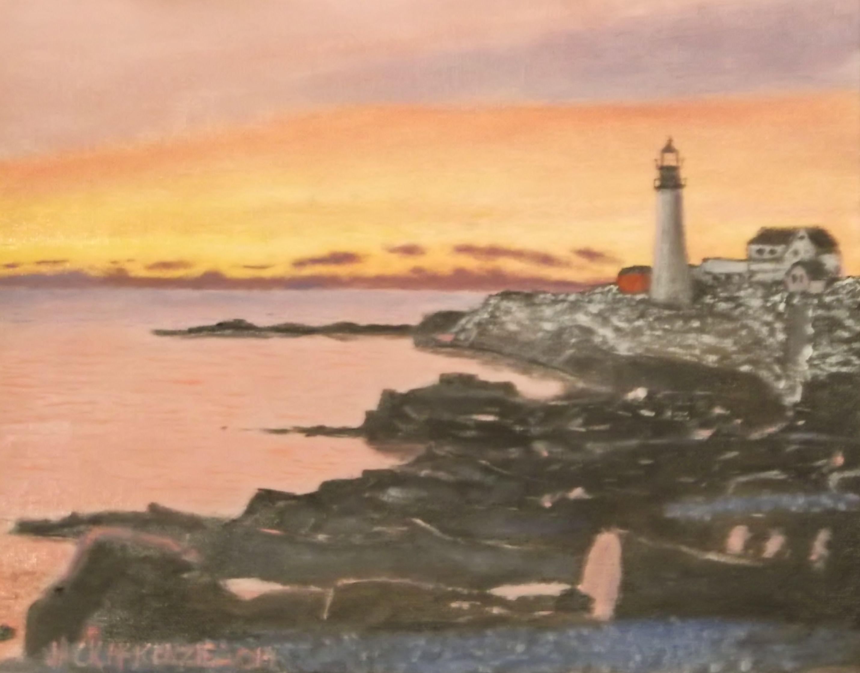 #Portland Head #Lighthouse at #sunrise. 11 x 14 oil on canvas board. #Maine