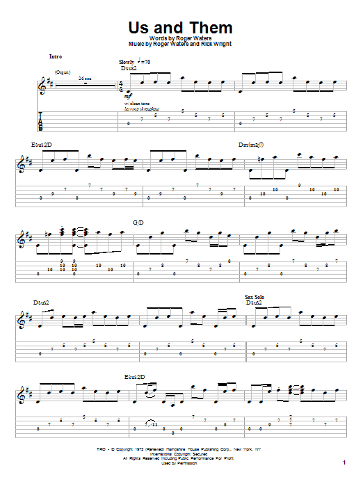 Preview Pink Floyd Us And Them Rock Sheet Music Notes And Chords For Piano Vocal Guitar Right Hand M Music Theory Worksheets Sheet Music Notes Sheet Music