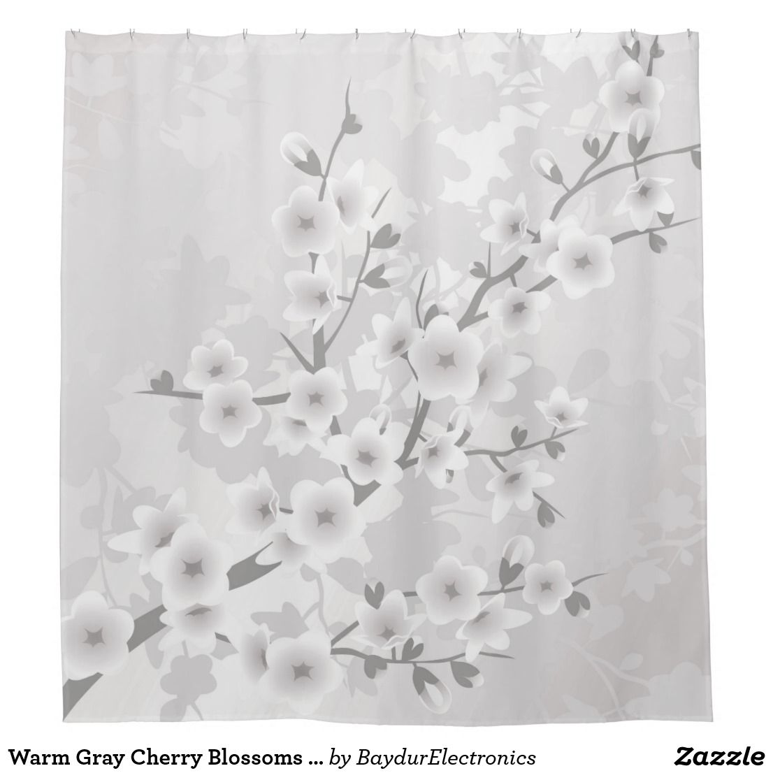 Warm Gray Cherry Blossoms Classic Shower Curtain | Shower Curtains ...
